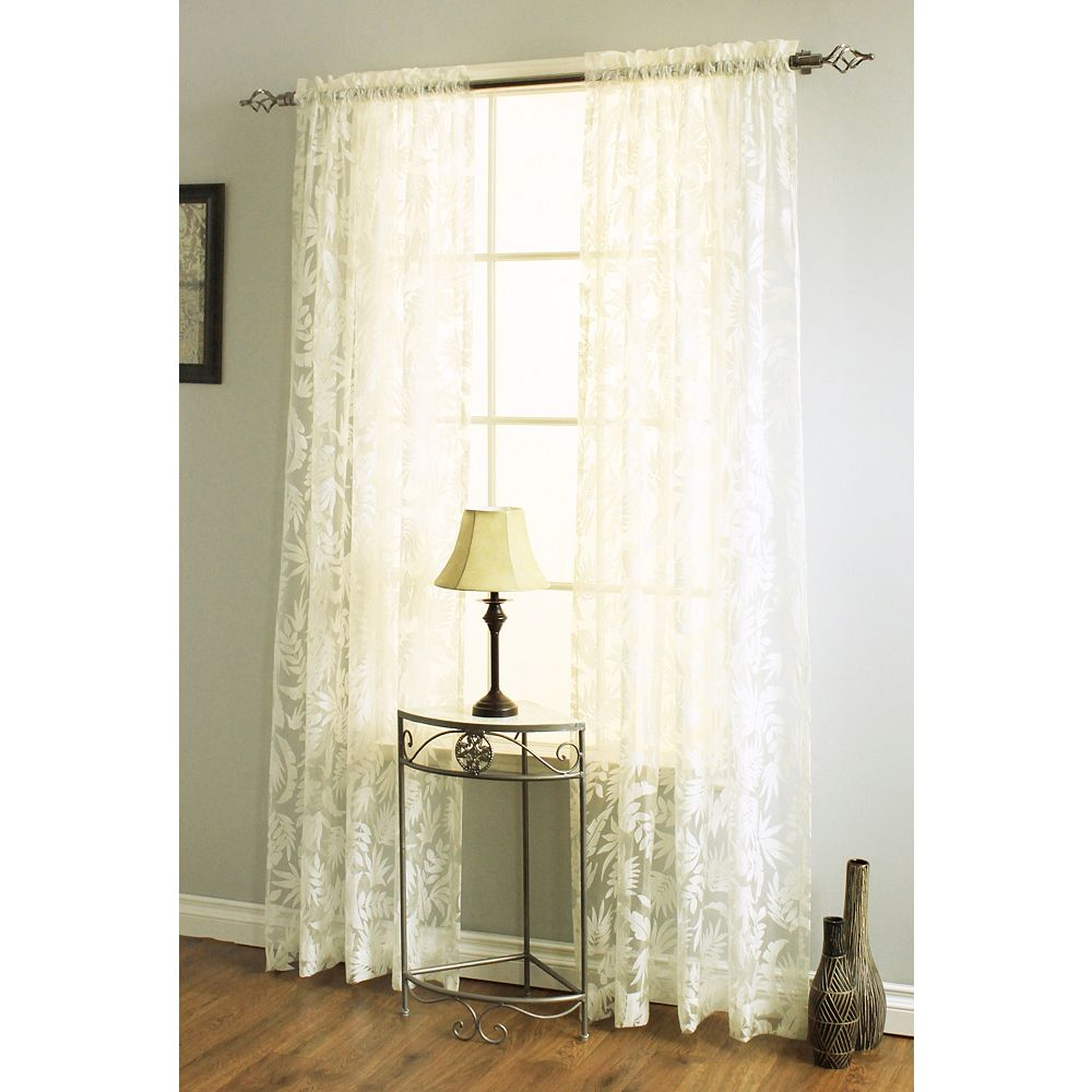 Habitat Leaves Burnout Curtain, Ivory - 54 Inches X 84 Inches
