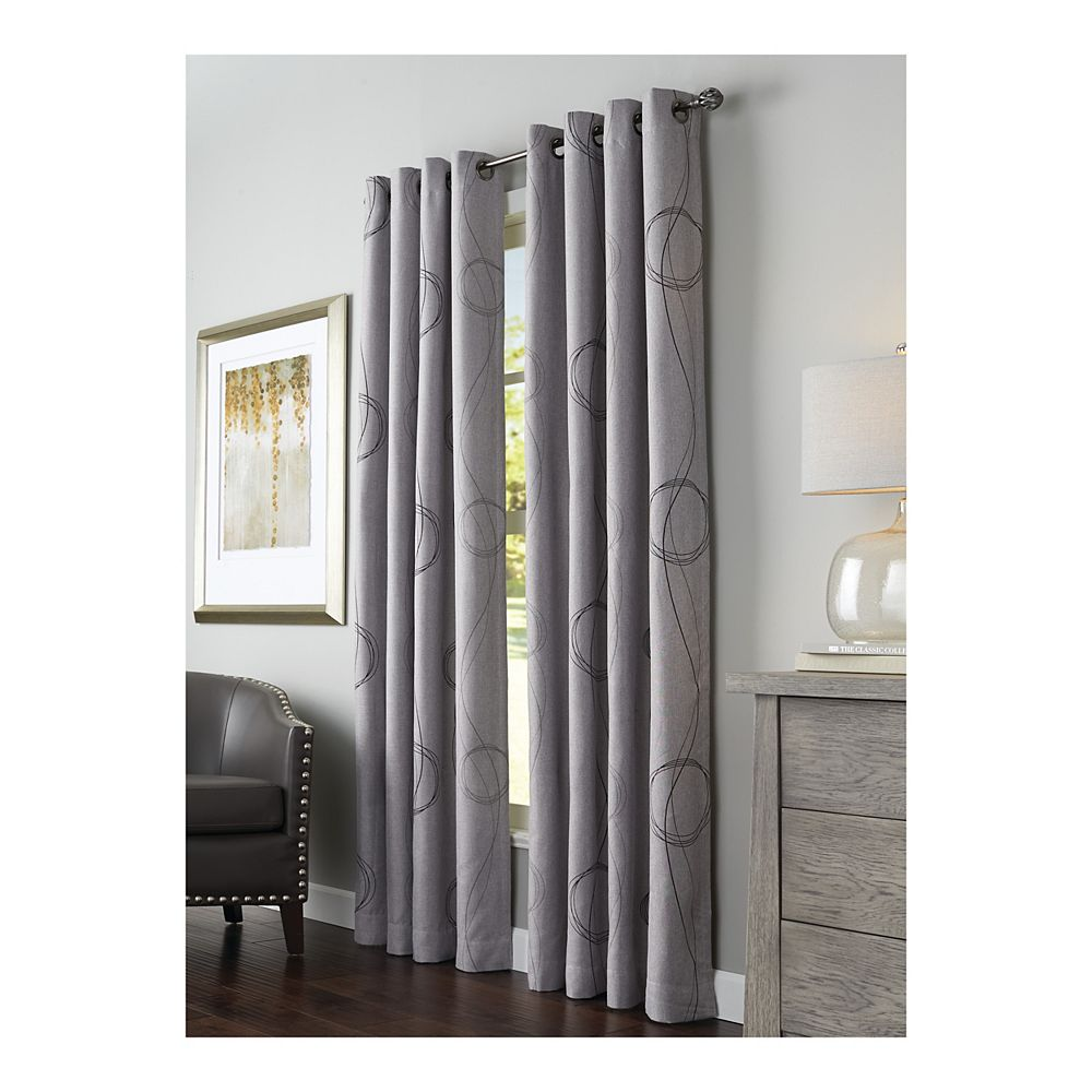 "Home Decorators Collection Brooke Printed Room Darkening Grommet Curtain Panel - 54"" W x 84"" L in Grey"