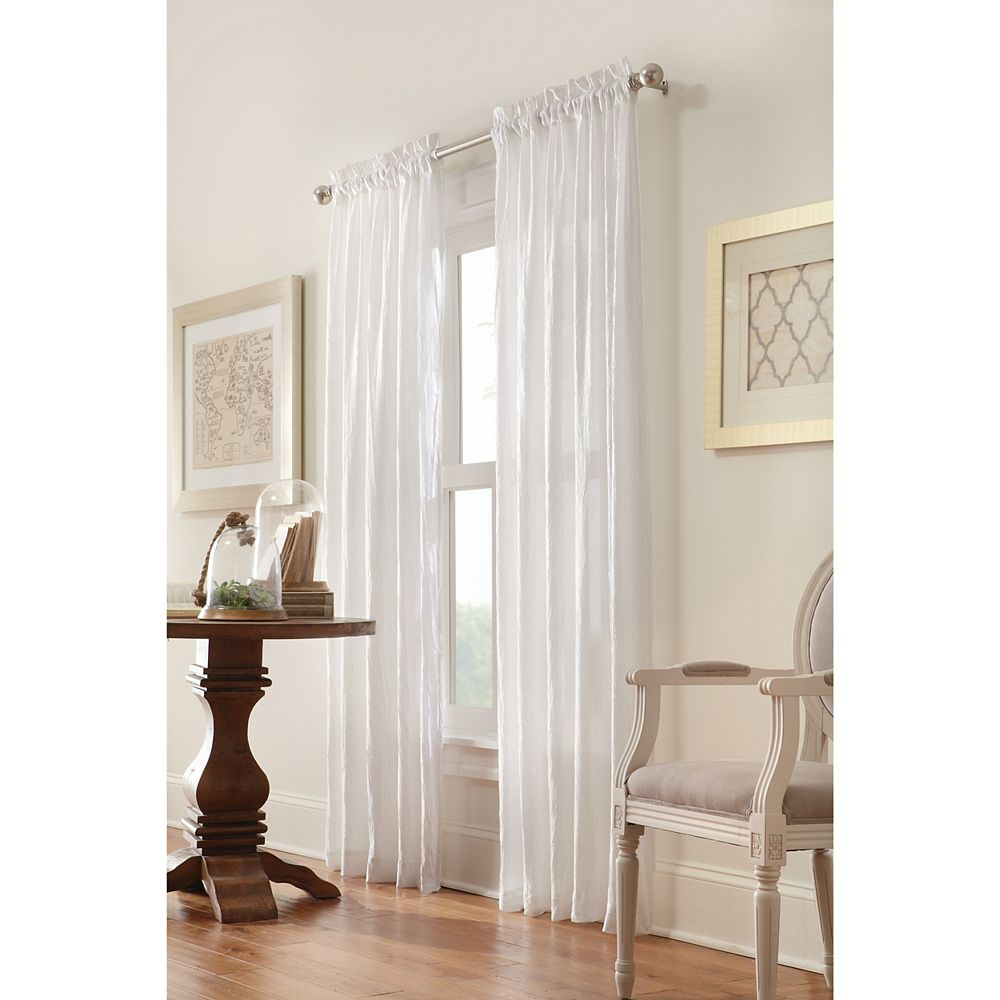 """Home Decorators Collection Briana Sheer Pole Top Curtain Panel - 48"""" W x 84"""" L in White"""