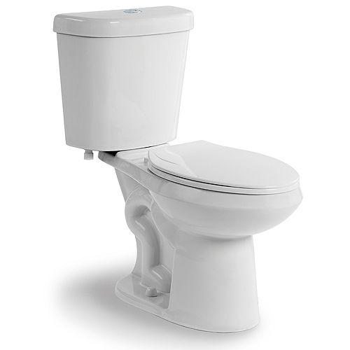 All-In-One 2-Piece 4.1/6.0 LPF Dual Flush Elongated Bowl Toilet in White