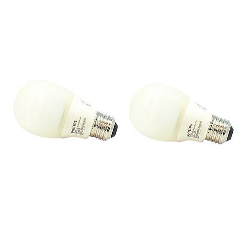 14W = 60W Silicone Medium Base Soft White (2700K) A19 CFL Light Bulb (2-Pack)