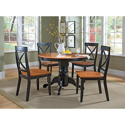 Black &Cottage Oak 5-Piece Dining Set