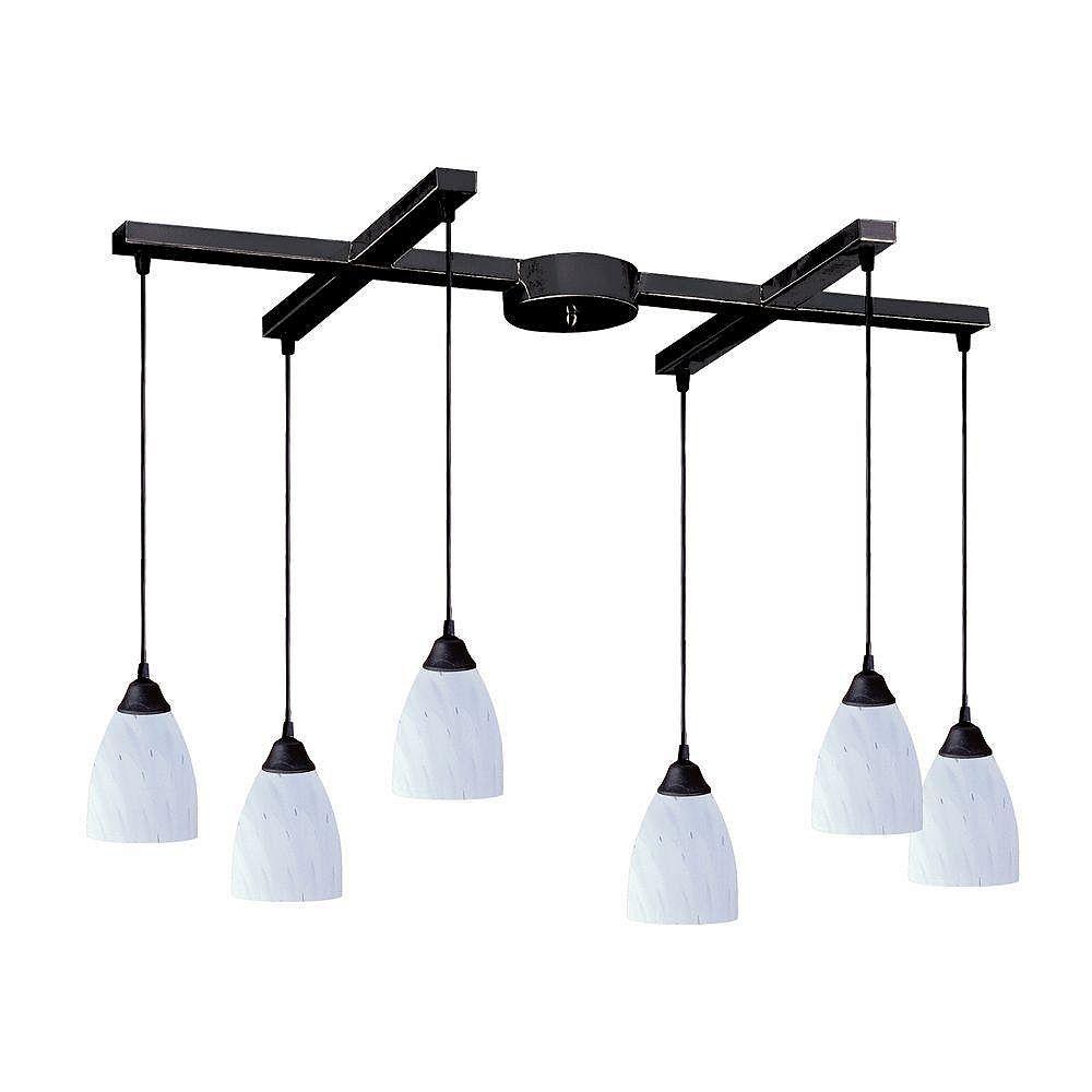 Titan Lighting Luminaire suspendu à 6 ampoules au fini rouille sombre