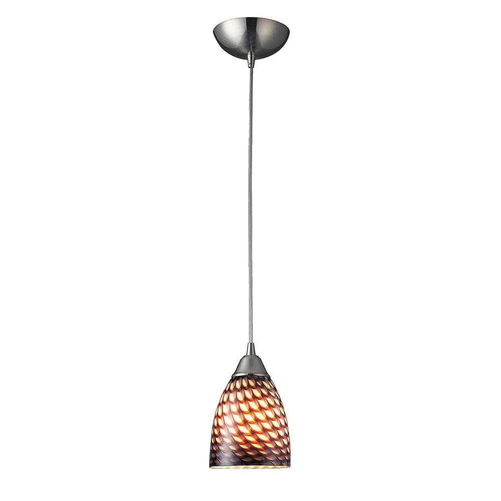 Titan Lighting Arco Baleno 1-Light Satin Nickel With Coco Glass Pendant