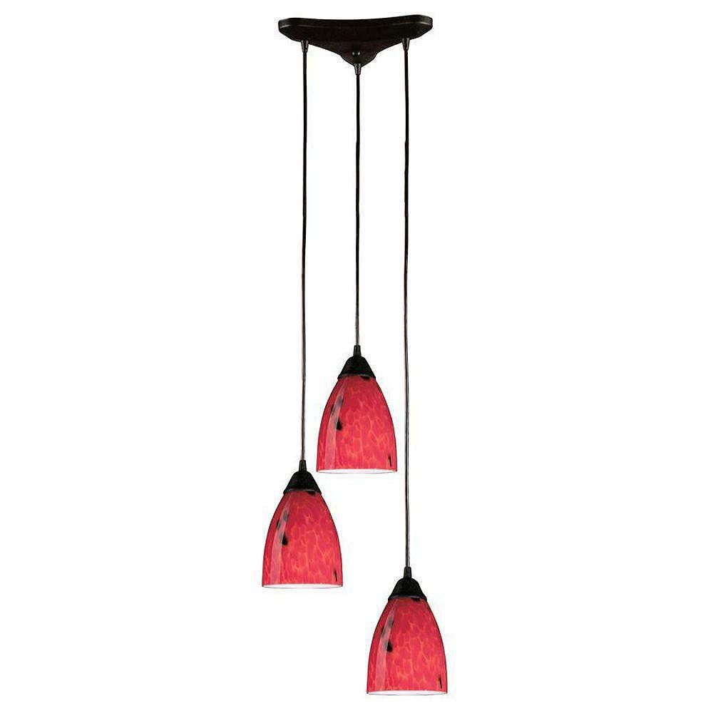 Titan Lighting Classico 3-Light Triangle In Dark Rust With Fire Red Glass Pendant