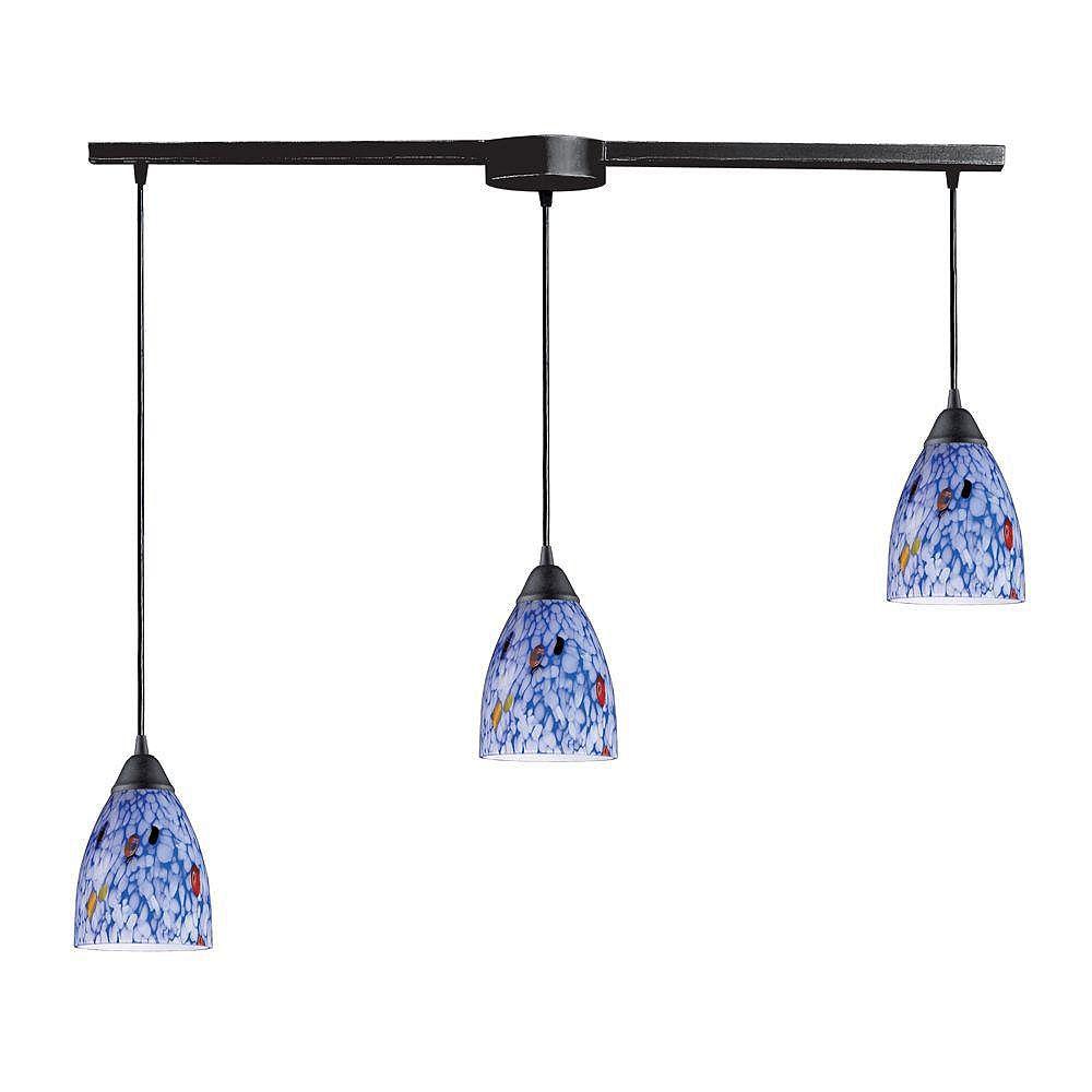 Titan Lighting Classico 3-Light Linear Bar In Dark Rust With Blue Starburst Glass Pendant