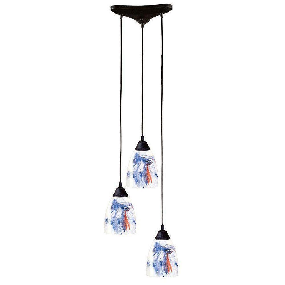 Titan Lighting Classico 3-Light Dark Rust With Mountain Glass Pendant