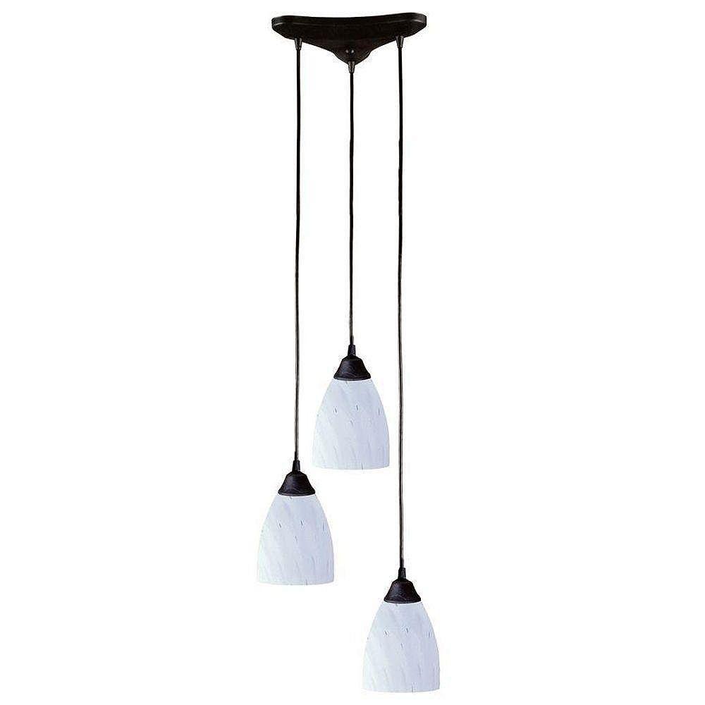 Titan Lighting Classico 3-Light Dark Rust With Simple White Glass Pendant