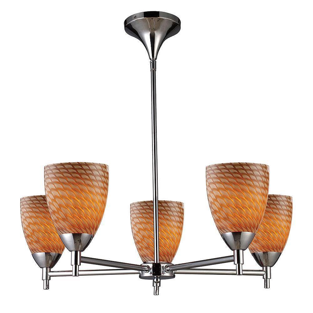 Titan Lighting Lustre à 5 ampoules au fini chrome poli