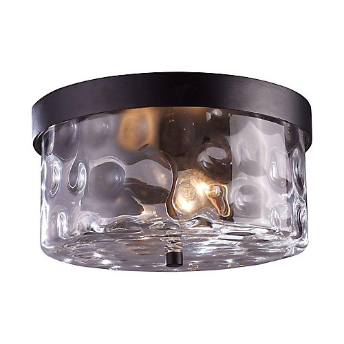2-Light Outdoor Hazelnut Bronze Flush Mount