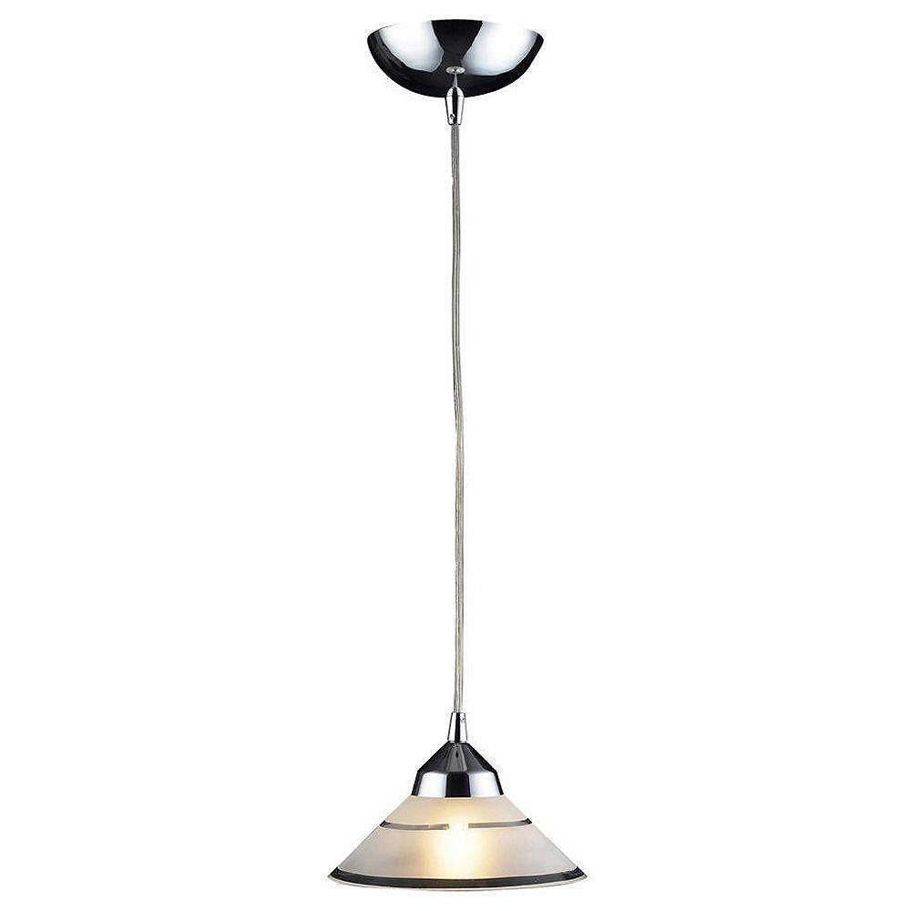 Titan Lighting Refraction 1-Light Polished Chrome With Etched Clear Glass Wire Pendant