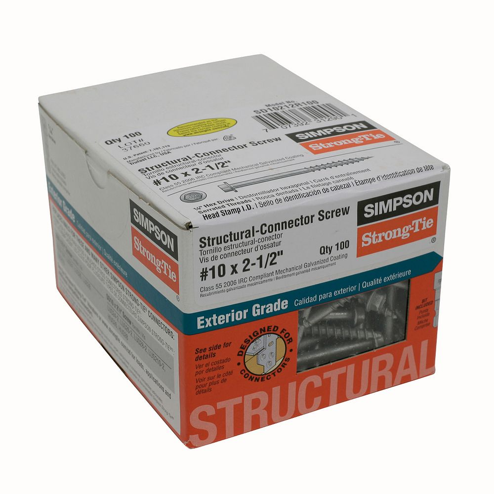 Simpson Strong-Tie Vis Structurale Strong-Drivemd #10 x 1-1/2po (100/Bte)