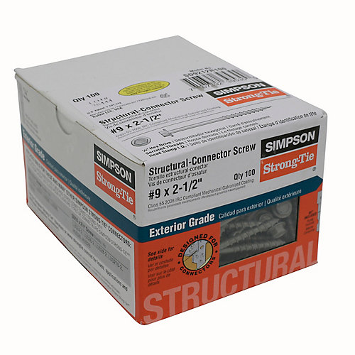 Vis Structurale Strong-Drivemd #9 x 2-1/2po (100/Bte)