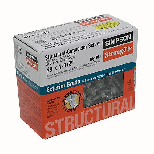 """Vis structurale # 9 x 1-1/2"""" (100/bte)"""