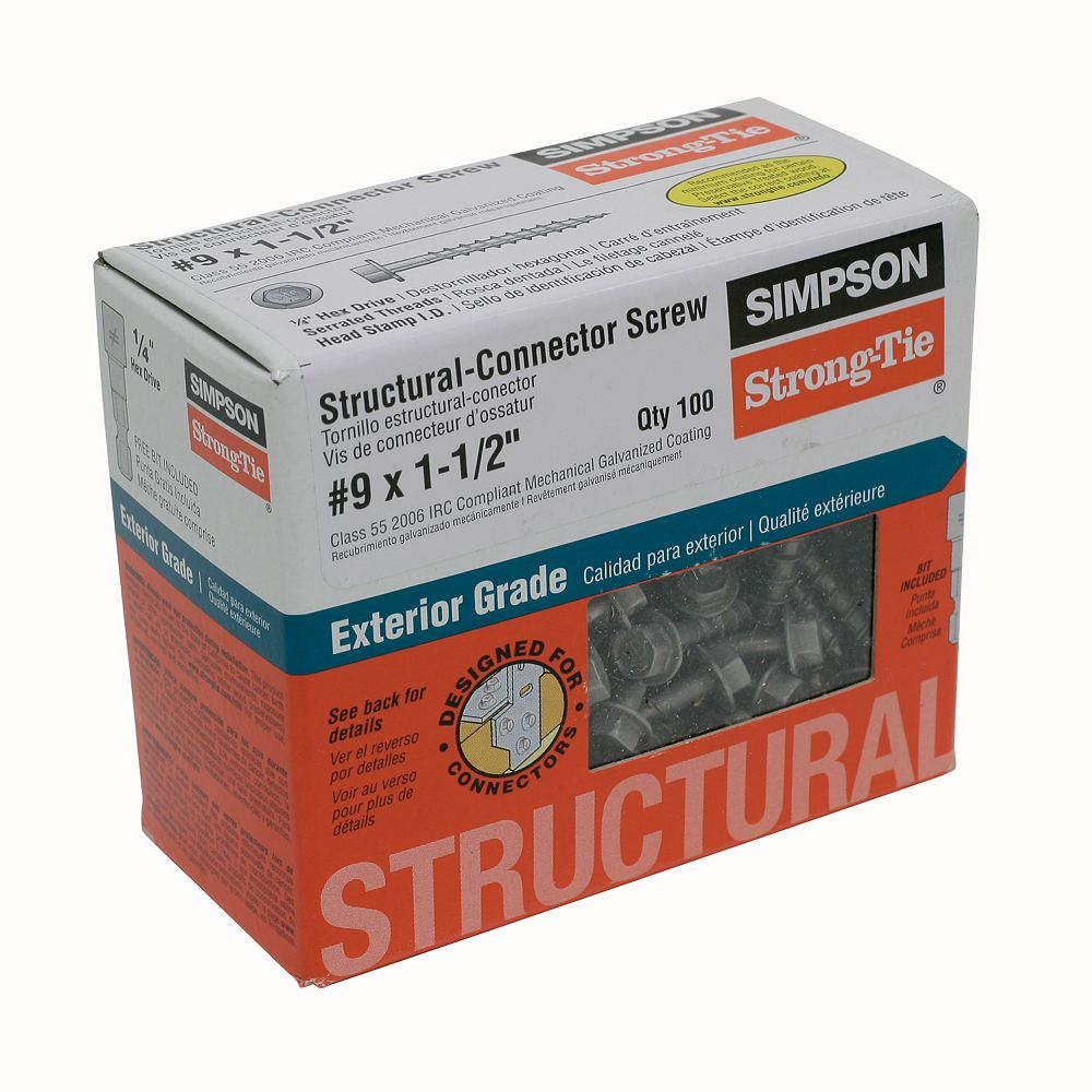 Simpson Strong-Tie Strong-Drive SD CONNECTOR Screw  9 x 1-1/2 inch 1/4-Hex Drive, Mech. Galv. (100-Qty)