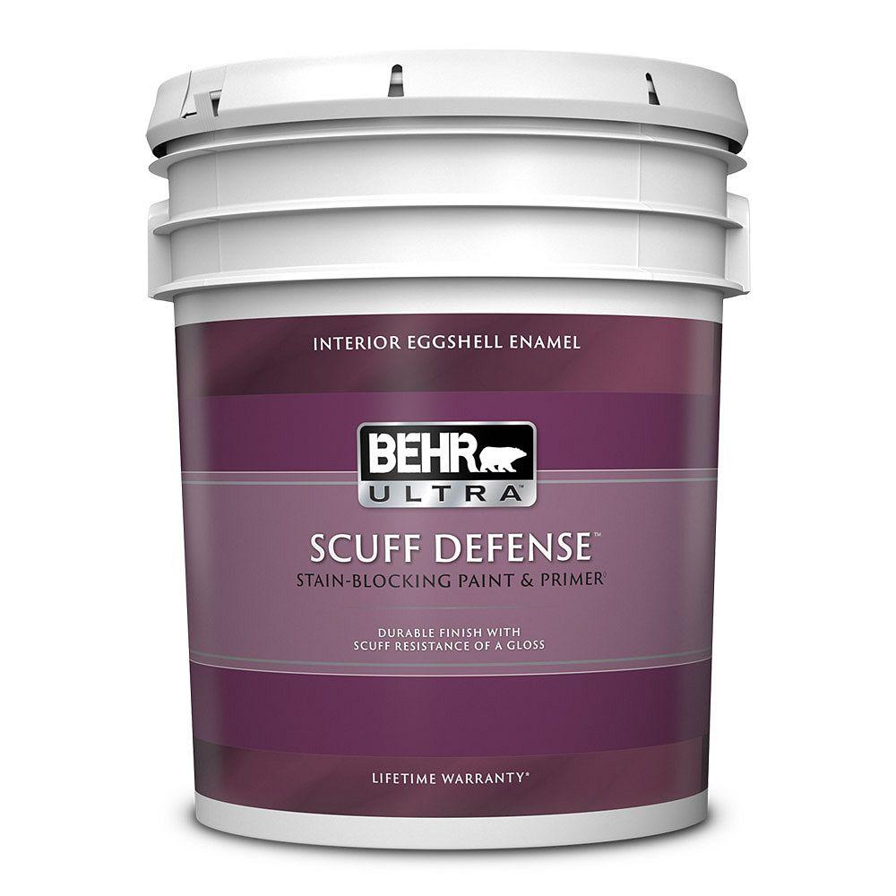 Behr ULTRA SCUFF DEFENSE Interior Eggshell Enamel Paint & Primer in Ultra Pure White, 18.9 L 275005C