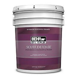 SCUFF DEFENSE Interior Eggshell Enamel Paint & Primer in Ultra Pure White, 18.9 L