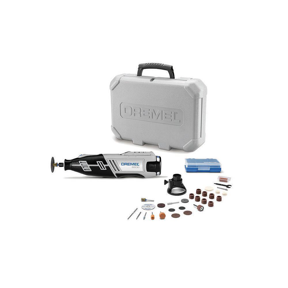 Dremel Série 8200 Kit d'outils rotatifs sans fil 12V Lithium-Ion à vitesse variable avec verrouillage rapide des pinces de serrage
