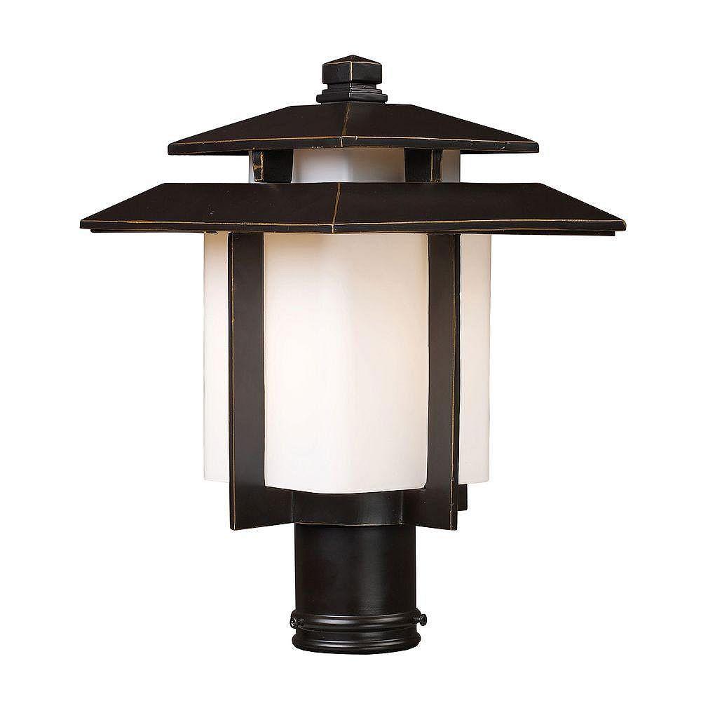 Titan Lighting Luminaire extérieur pour poteau à 1 ampoule au fini bronze noisette