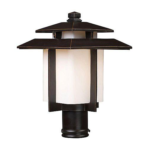 Luminaire extérieur pour poteau à 1 ampoule au fini bronze noisette