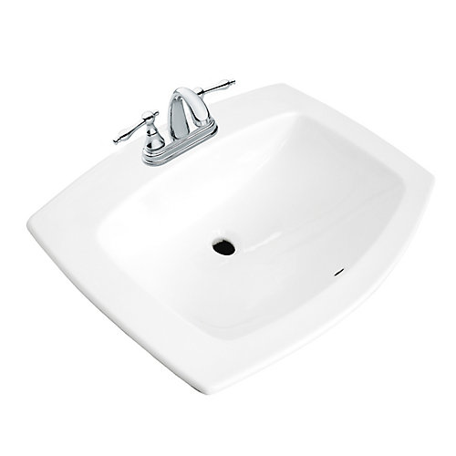 Galla Rectangular Drop-In Bathroom Sink in White