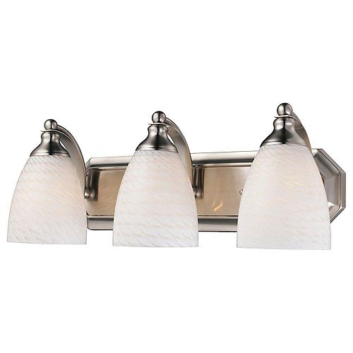 3-Light Satin Nickel With White Swirl Glass Bath Light