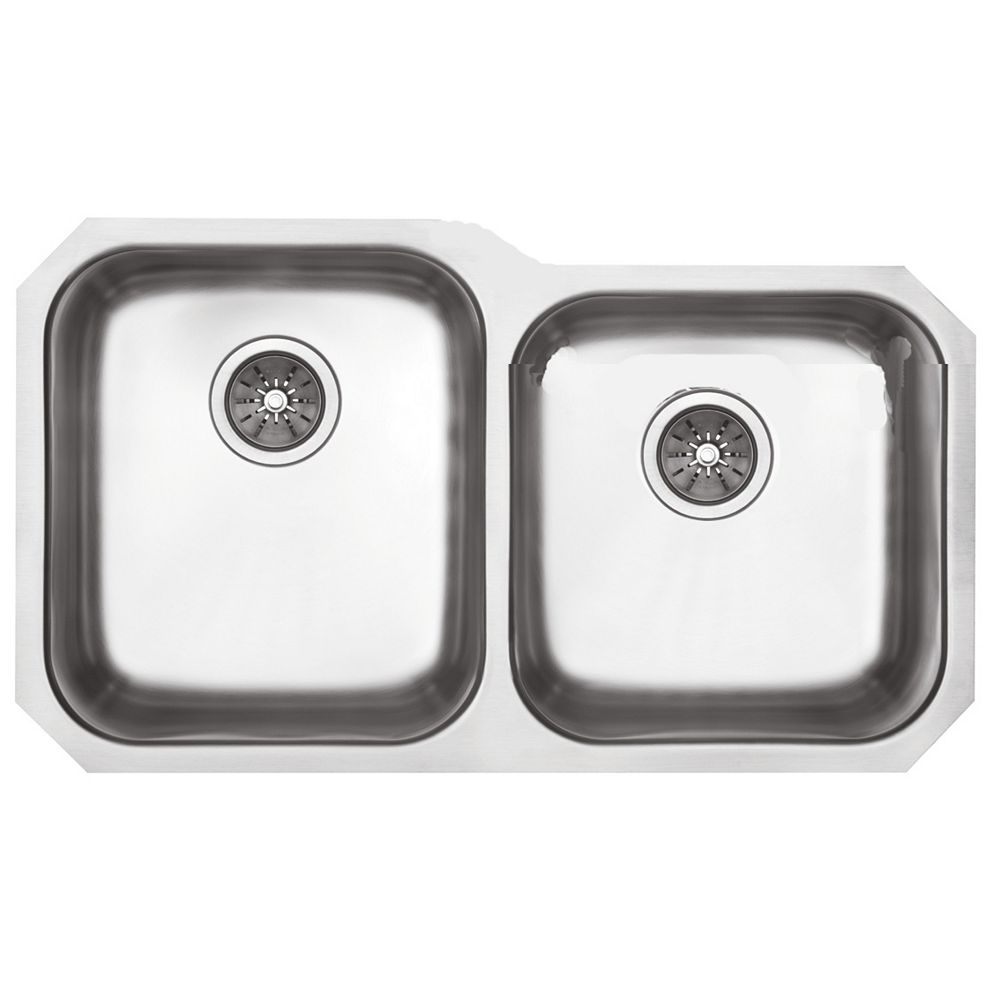 Elkay One And Three Quarter Undermount Sink 20 Gauge Stainless Steel - 31 Inch x 20 Inch x 8 Inch