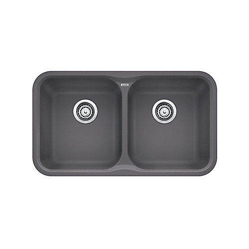 VISION U 2, Equal Double Bowl Undermount Kitchen Sink, SILGRANIT Cinder