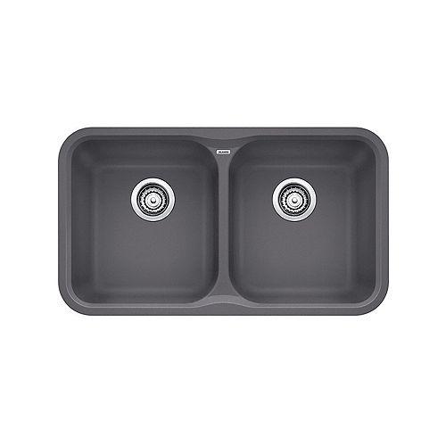 VISION U 2, Equal Double Bowl Undermount Kitchen Sink, SILGRANIT Cinder