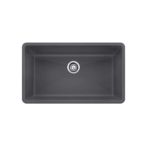 PRECIS U SUPER SINGLE, Large Single Bowl Undermount Kitchen Sink, SILGRANIT Cinder