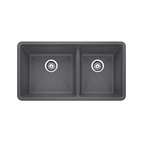 PRECIS U 1.75, Offset Double Bowl Undermount Kitchen Sink, SILGRANIT Cinder