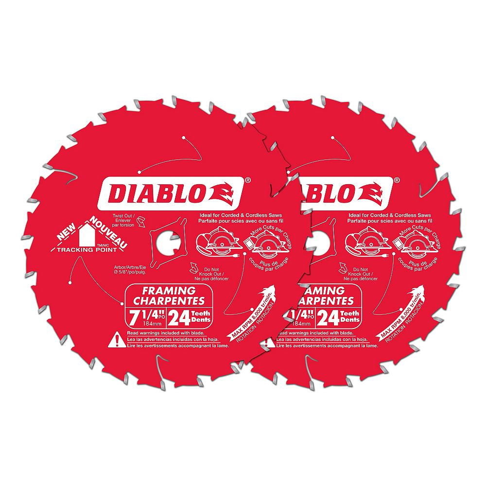 Diablo Lame de charpente et de construction, pointes durables en titane, 7 1/4 po x 24 dents