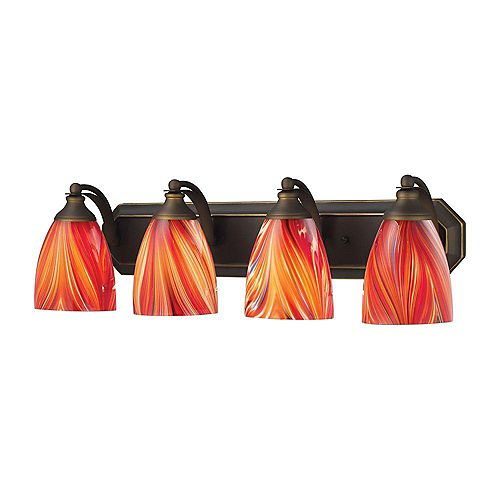 4-Light Aged Bronze with Multicolored Glass Bath Light