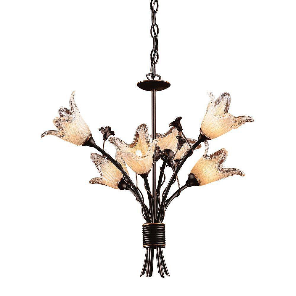 Titan Lighting Lustre à 5 ampoules au fini bronze vieilli