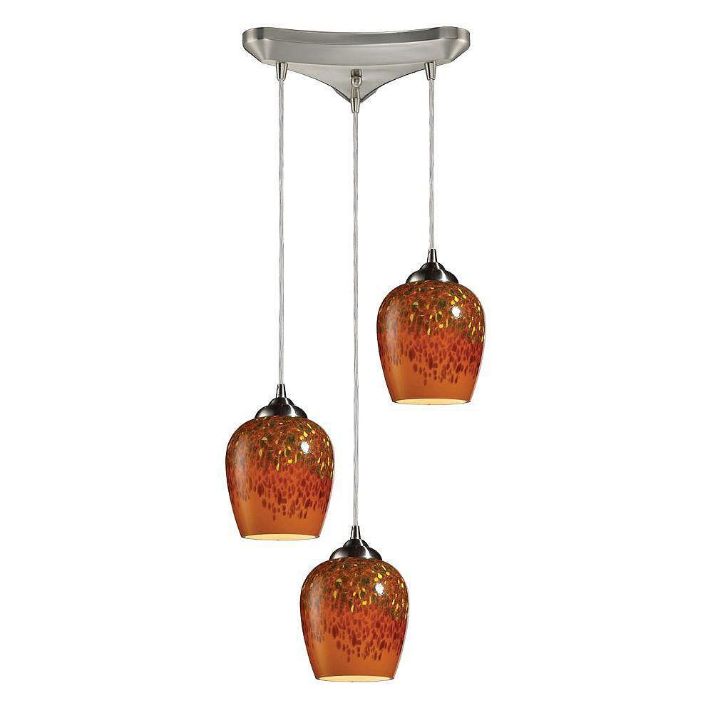 Titan Lighting Luminaire suspendu à 3 ampoules au fini nickel satiné