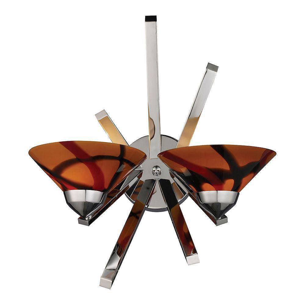 Titan Lighting Refraction 2-Light Polished Chrome With Jasper Glass Sconce