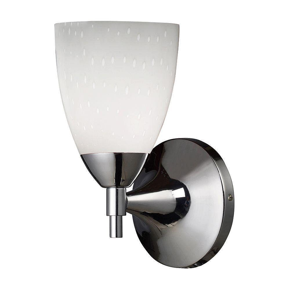 Titan Lighting Celina 1-Light Polished Chrome With Simple White Glass Sconce