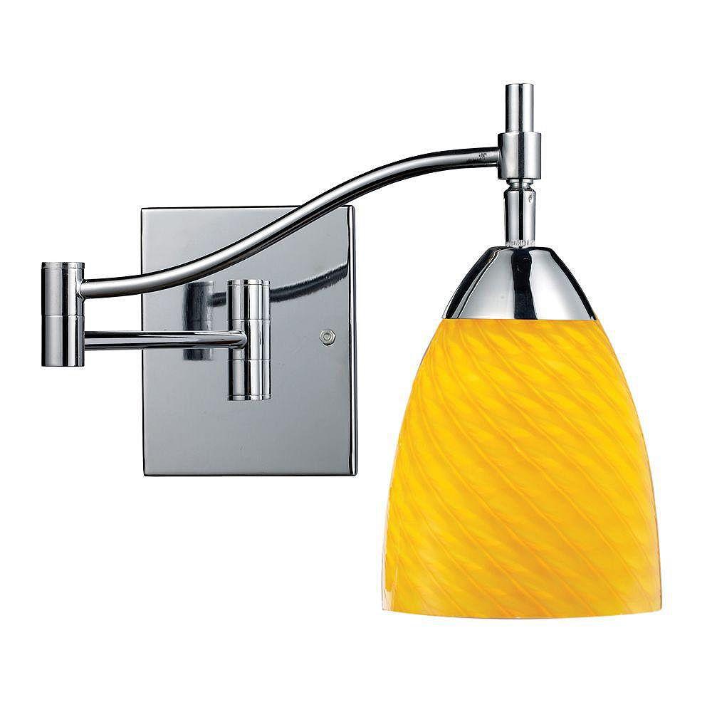 Titan Lighting Celina 1-Light Polished Chrome With Canary Glass Swing Arm Light
