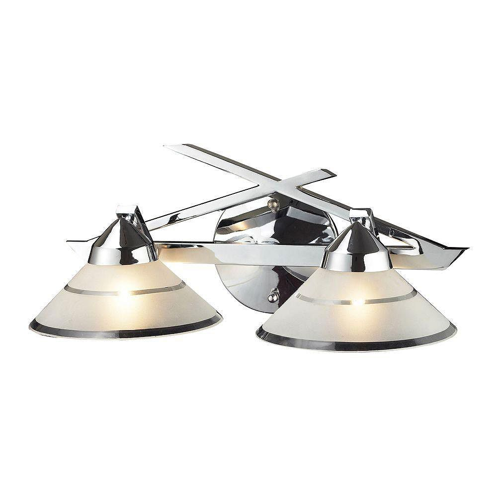 Titan Lighting Refraction 2-Light Linear In Polished Chrome With Etched Clear Glass Sconce