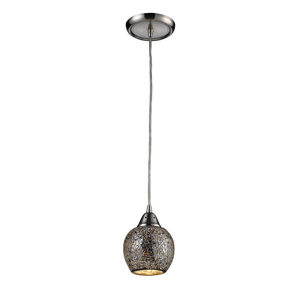 Titan Lighting Fission 1-Light Satin Nickel With Silver Glass Pendant