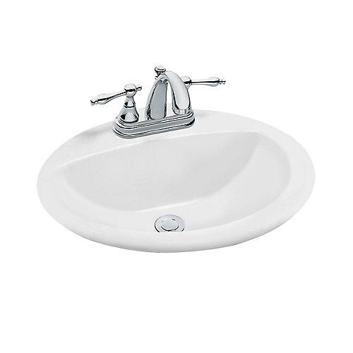 Oval Drop-In Bathroom Sink in White