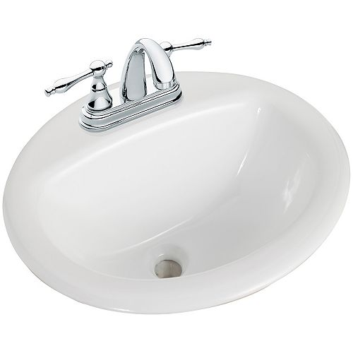 Round Drop-In Bathroom Sink in White
