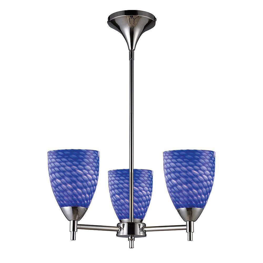 Titan Lighting Celina 3-Light Polished Chrome Chandelier With Sapphire Glass Shades