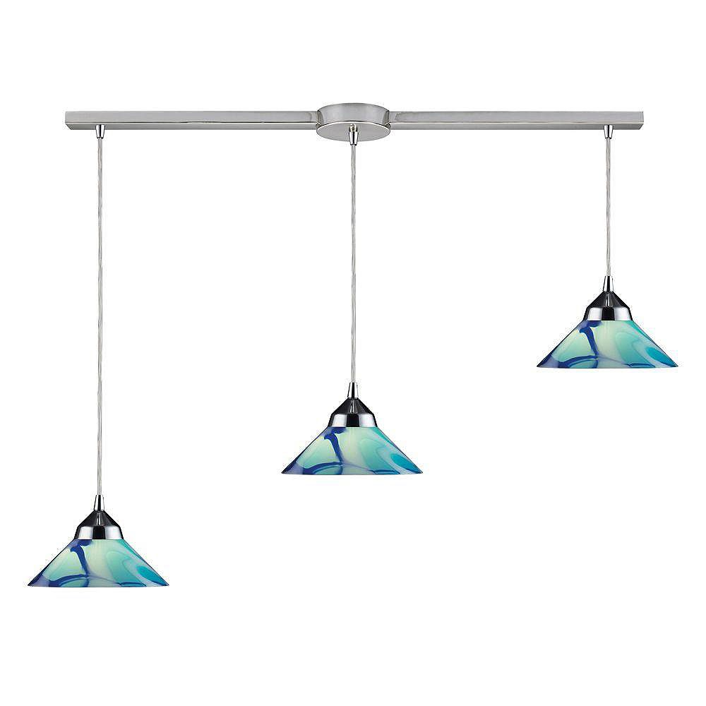 Titan Lighting Refraction 3-Light Linear Bar In Polished Chrome With Caribbean Glass Pendant