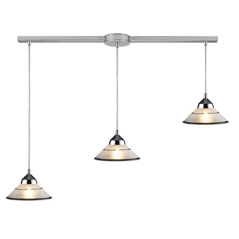 Titan Lighting Refraction 3-Light Linear Bar In Polished Chrome With Etched Clear Glass Pendant