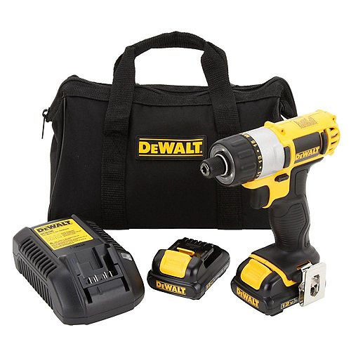DEWALT 12V MAX Li-Ion Cordless 1/4-inch Screwdriver Kit w/ (2) Batteries 1.5Ah, Charger and Contractor Bag