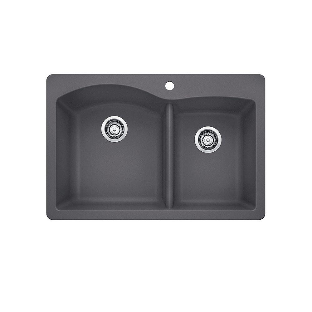 Blanco DIAMOND 1.75, Offset Double Bowl Drop-in Kitchen Sink, SILGRANIT Cinder
