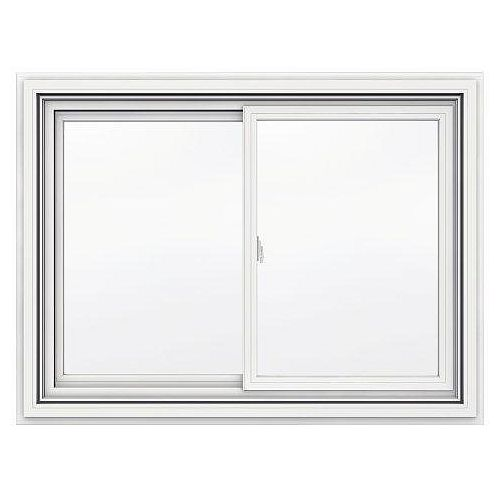 48-inch x 35-inch 5000 Series Vinyl Double Sliding Window with J Channel Brickmould