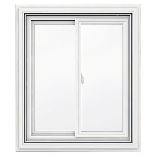 30-inch x 36-inch 5000 Series Vinyl Double Sliding Window with J Channel Brickmould
