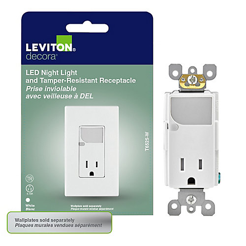 Decora Tamper Resistant Receptacle w/LED Guide Light, White